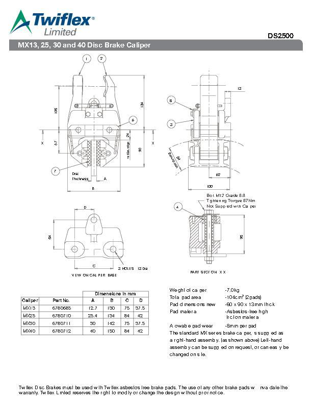 mx13 25 30 & 40 disc brake caliper
